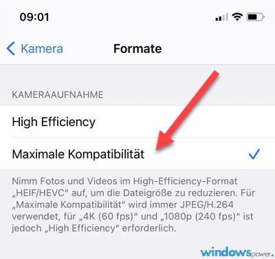 iphone HEIC-Format deaktivieren