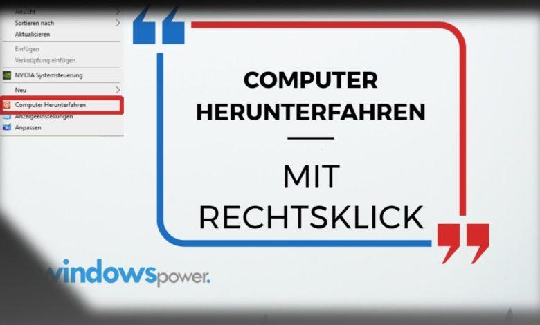 Computer Herunterfahren mit Rechtsklick