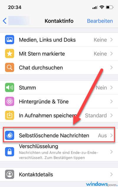 Selbstlöschende Nachrichten WhatsApp