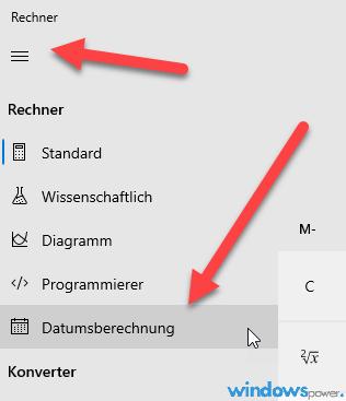datumsberechnung mit windows 10