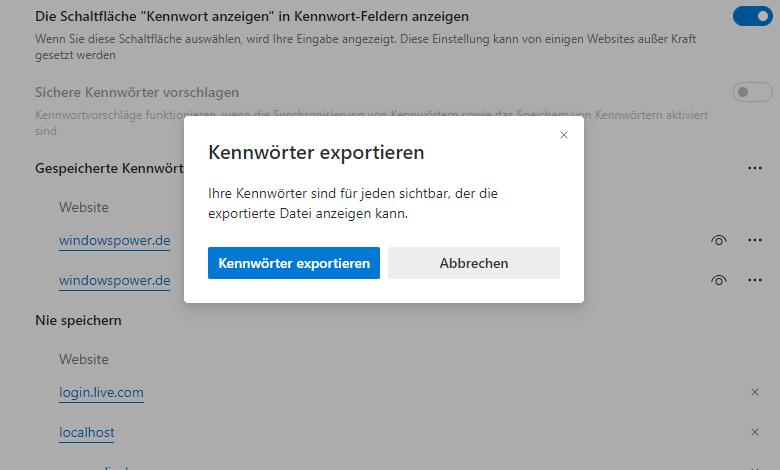 kennwoerter export