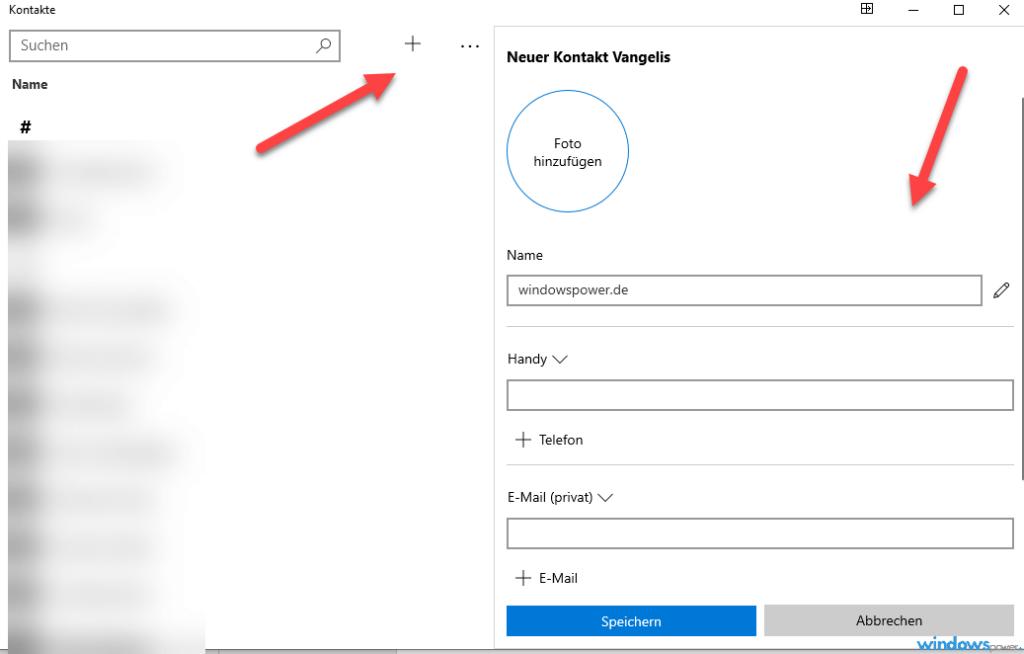 windows 10 kontakte hinzufuegen