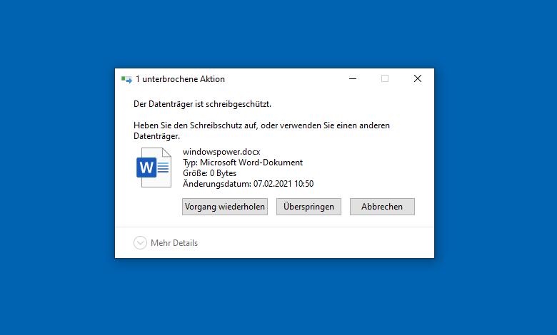 windows schreibschutz