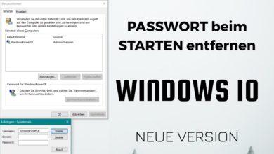 Passwort beim Starten entfernen Windows 10