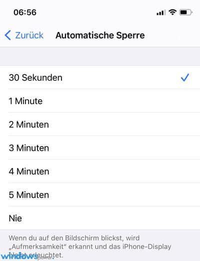 iphone automatische sperre