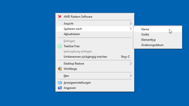 desktop verknuepfungen sortieren