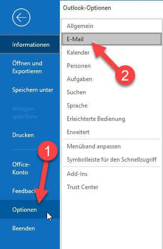 outlook email optionen
