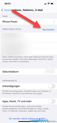 apple id handynummer aendern