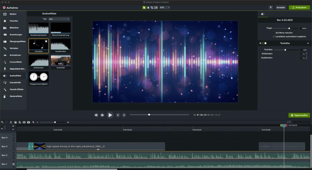 camtasia2021 emphasize audio effect de