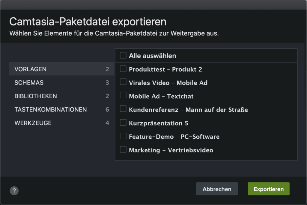 camtasia2021 exportpackage closeup de