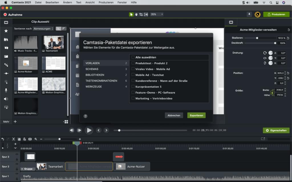 camtasia2021 exportpackage fullscreen de