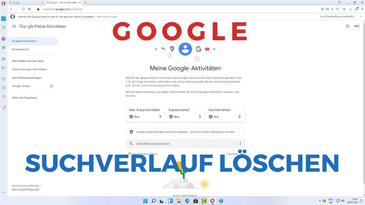 Google Suchverlauf loeschen