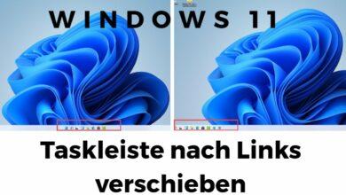 Windows 11 Taskleiste nach Links verschieben