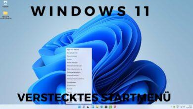 Windows 11 verstecktes Startmenue