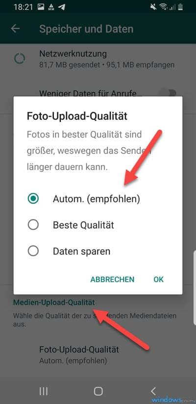 Android WhatsApp Foto Upload Qualitaet