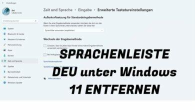 Sprachenleiste DEU unter Windows 11 entfernen
