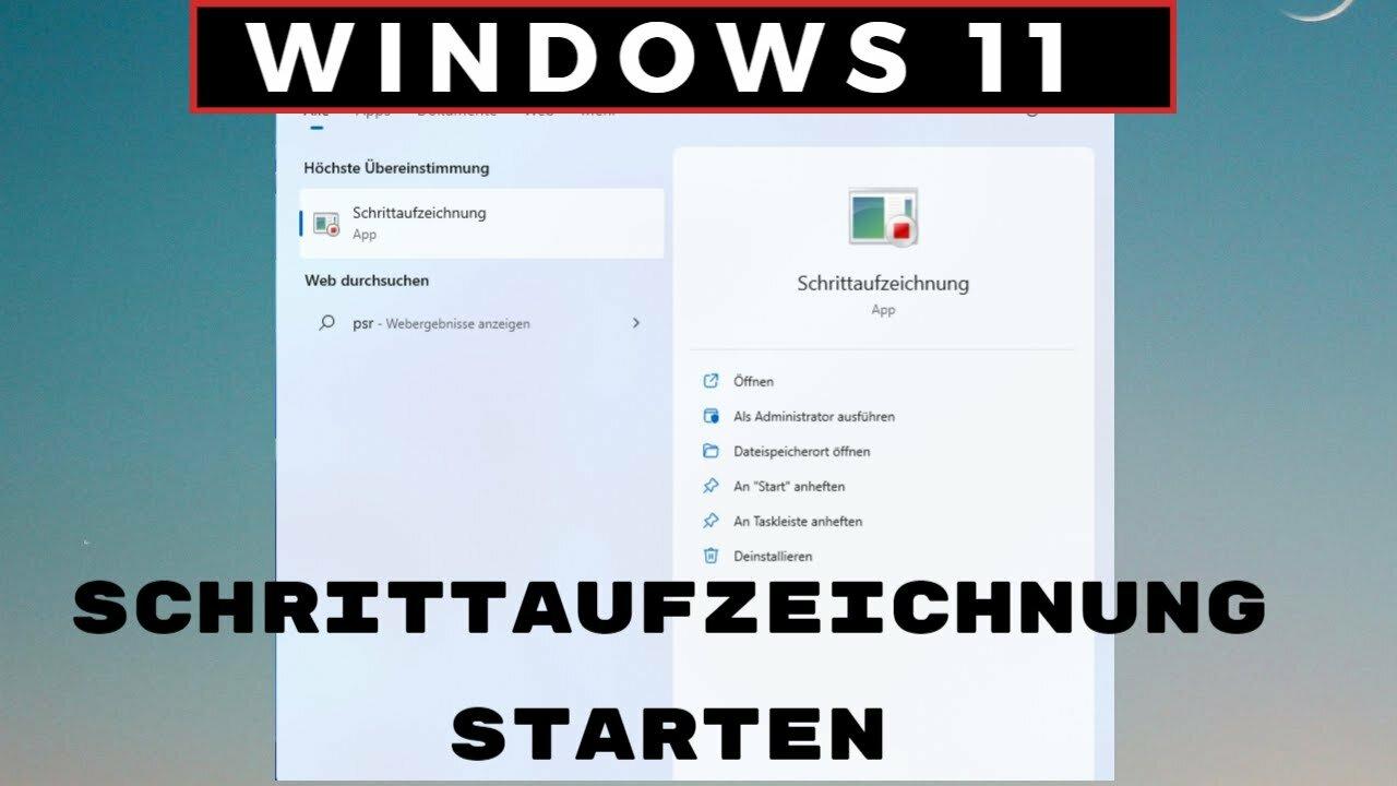 Windows 11 Schrittaufzeichnung Starten