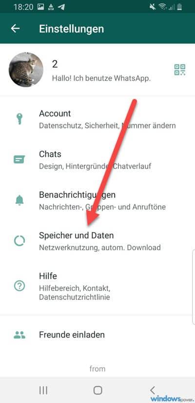 android whatsapp speicher und daten