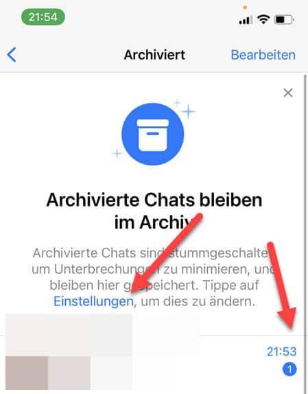 archivierte chats bleiben in archiv