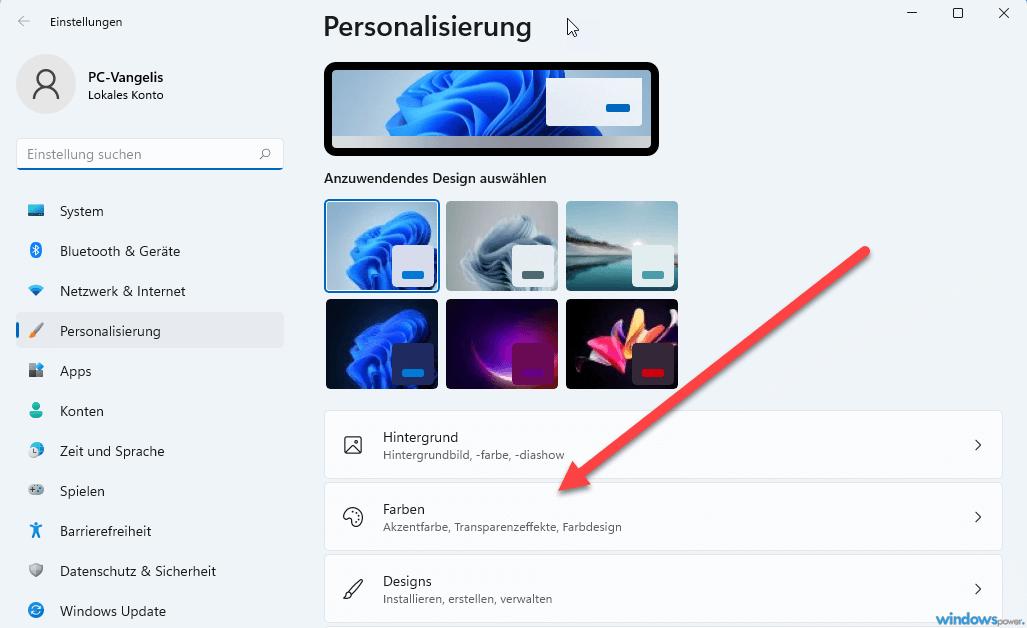 personalisierung farben