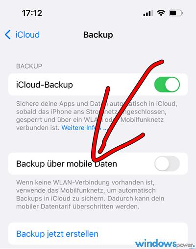 Backup über mobile Daten