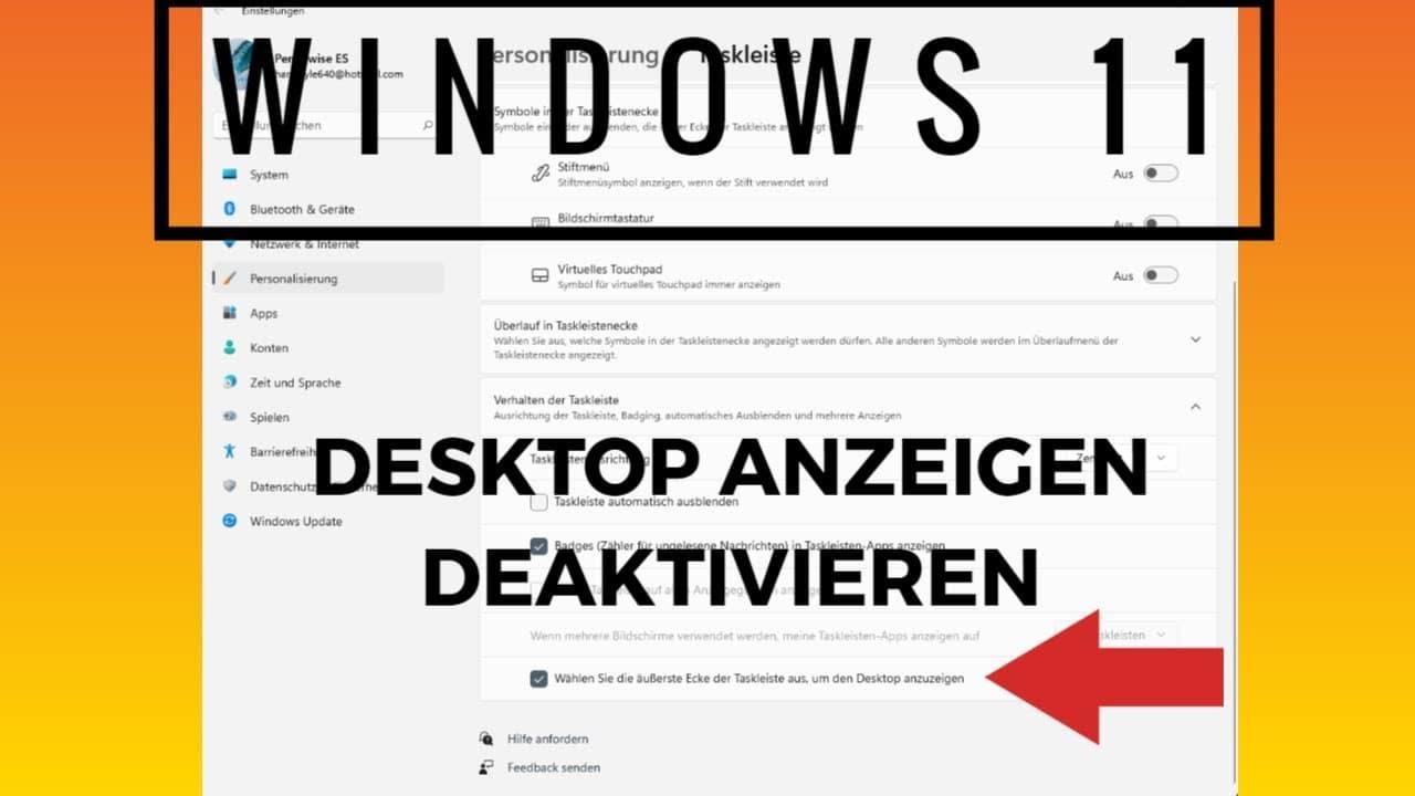 Desktop anzeigen deaktivieren Windows 11