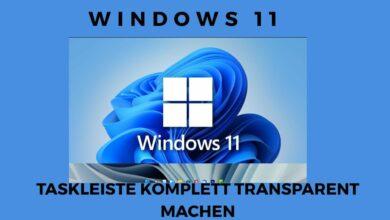 Windows 11 Taskleiste komplett transparent machen