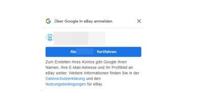anmeldung mit google