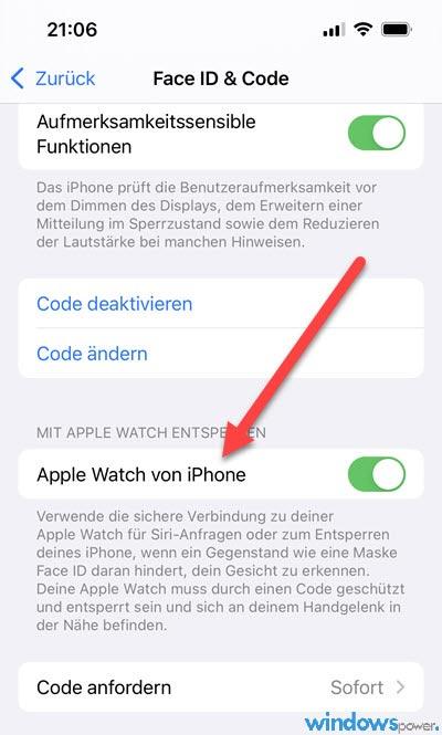 iPhone mit Apple Watch entsperren